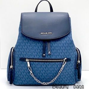 MICHAEL KORS LARGE CHAIN BACKPACK DR CHAMBRAY